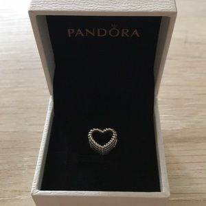 Pandora Beaded Heart Charm - Sterling Silver